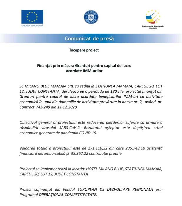 Fonduri UE MilanoBlue